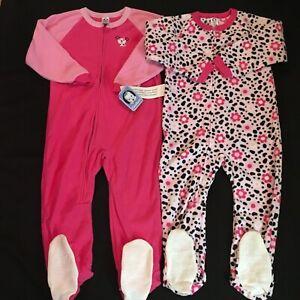 e044d501d 2 Pcs. New Gerber Baby Toddler Girl Fleece Footed Sleepers Sz 5T | eBay