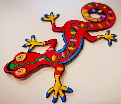 Pretty Red Crocodile Embroidered Iron On Patch A1311
