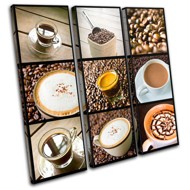 Coffee shop Food Kitchen TREBLE CANVAS WALL ART Picture Print VA