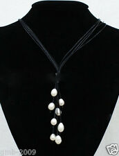 """New Fashion Black Leather Rope & White Freshwater Pearl Necklace 21"""" Long"""
