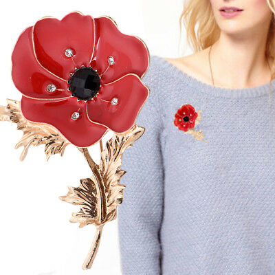UK Large Red Remembrance Poppy Pin Brooch Banquet Crystal Badge Gold Flower Gift