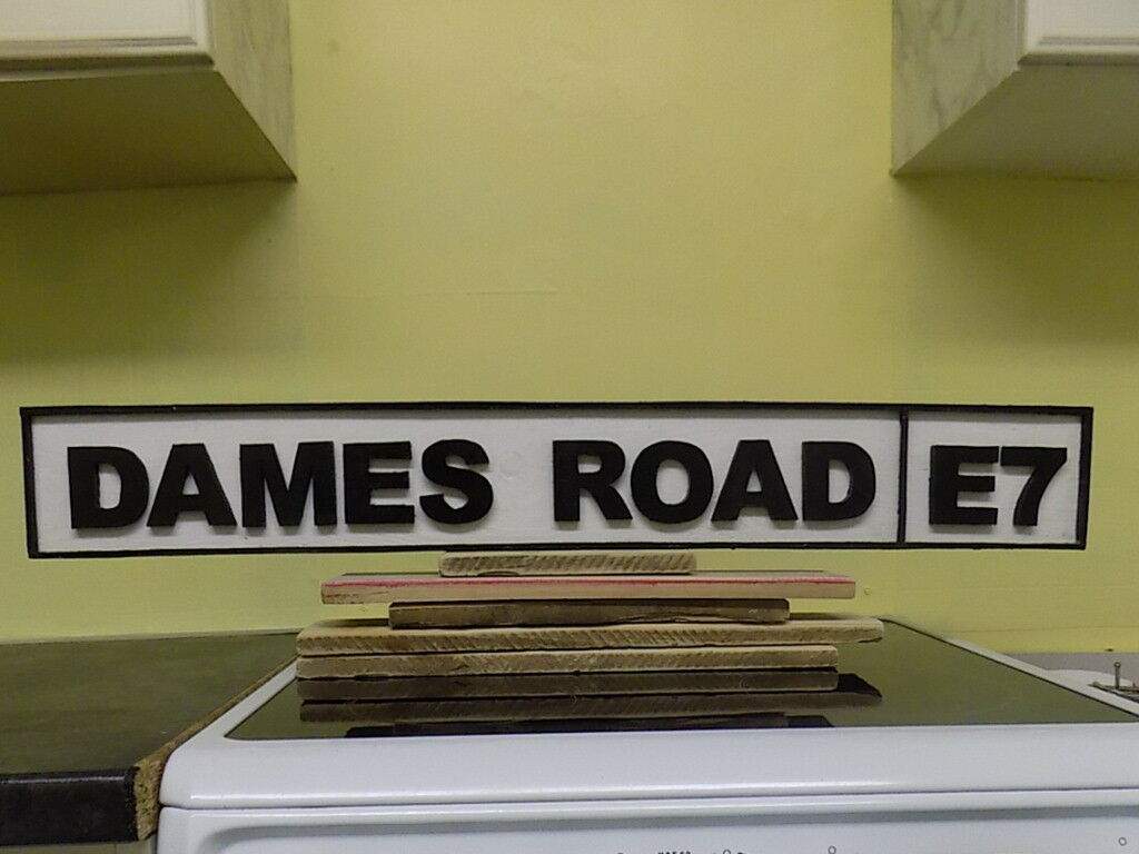 HAND MADE WOODEN REPLICA STREET SIGNS, FOOTBALL, RESIDENTIAL, DAMES ROAD E7