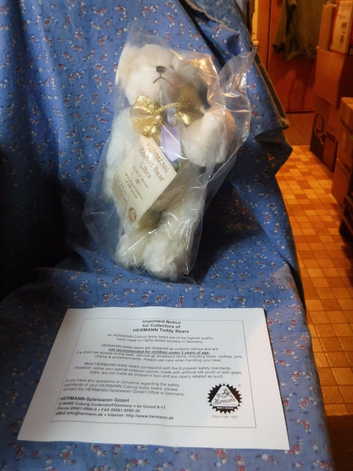 NIP  Hermann Zodiac Bear Libra Made of Mohair No. 35 of 250  About 10 1/2  High