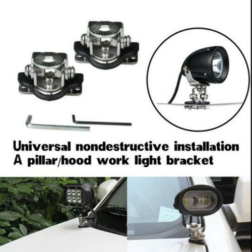 2 Pcs Metal Car A Pillar Hood Mount Bracket Clamp NO Damage Holder For LED Light