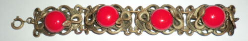 Vintage Czech Brass Red Glass Stone Bracelet Snake