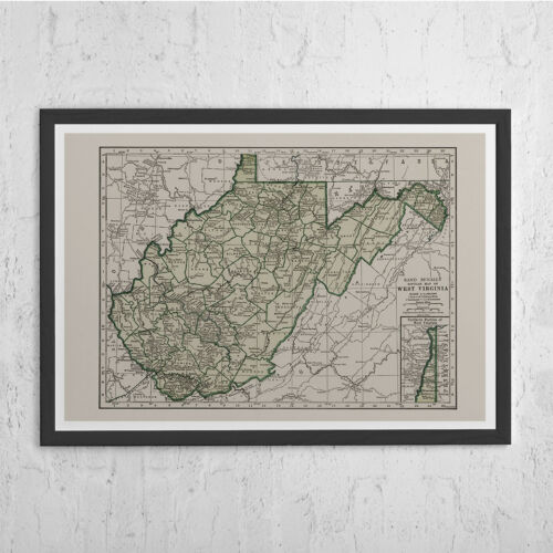 Antique Map Print Vintage Map of West Virginia WEST VIRGINIA MAP Historical