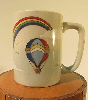 Vtg Otagiri Japan Coffee Mug Rainbow Hot Air Balloon Pride GLBT EUC