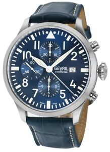 Gevril Men's 46111 Vaughn Swiss SW 500 Automatic Blue Chronograph Leather Watch