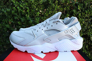 NIKE AIR HUARACHE RUN PREMIUM SZ 10 METALLIC SILVER WHITE 704830-008