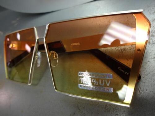 OVERSIZED VINTAGE RETRO SHIELD Style SUN GLASSES Gold Frame Orange /& Yellow Lens