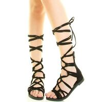 Black Lace Up Tie Gladiator Flat Sandals Knee High Roman Women's Shoes