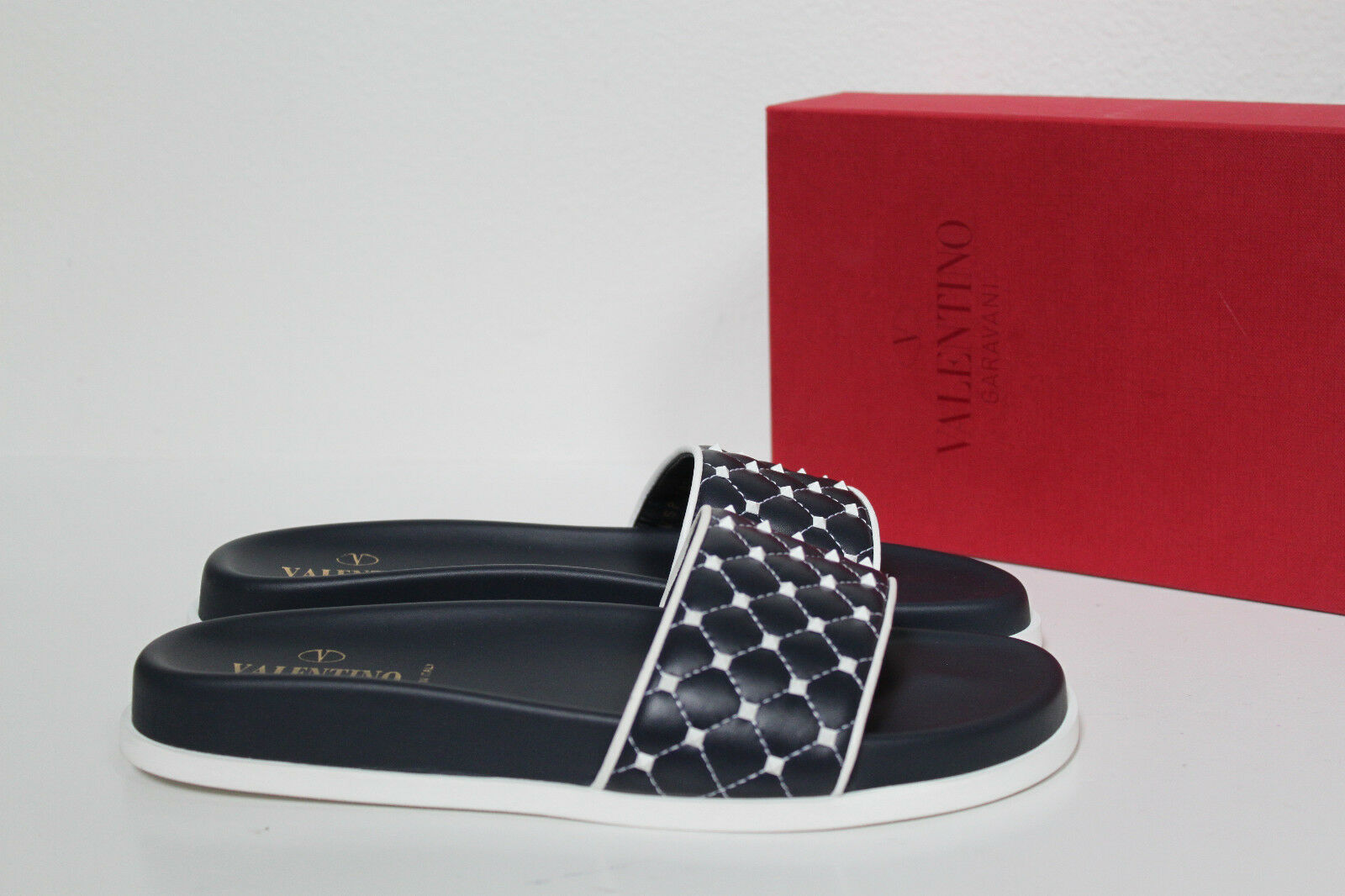 New sz 6   36 Valentino Rockstud bluee Quilted Quilted Quilted Pool Slide Sandal Flat shoes 9b97f4