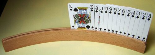 SET OF FOUR PLAYING CARDS HOLDERS .WOODEN WITH PACK OF PLAYING CARDS  NEW.