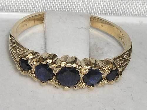 Stile Antico 9ct solido oro Naturale Naturale Naturale Zaffiro Anello con tratti distintivi inglese 585ef5