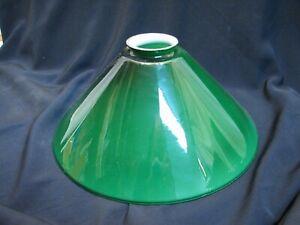 Emerald Green Cased Milk Glass Lamp Shade Student Light Slant Cone Desk Banker D