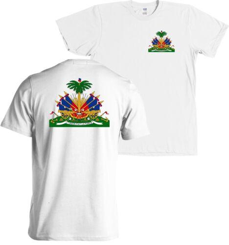 NEW Haiti Coat of Arms Front /& Back Print T Shirt Haitian Caribbean Republic