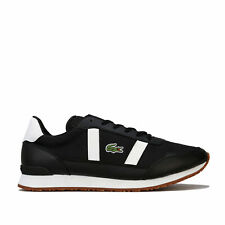 Mens Lacoste Partner 319 Trainers In Black White- Breathable Mesh Upper With