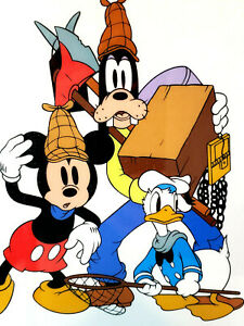 Lonesome Ghost Disney Sericel Mickey Mouse Donald Duck & Goofy