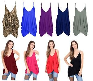 Womens-Ladies-V-Neck-Baggy-Lagenlook-Cami-Strappy-Plain-Oversize-Loose-Vest-Top