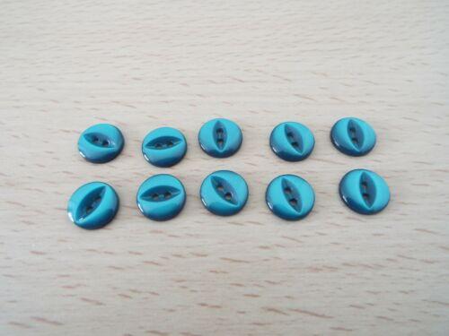 10 X tipo de ojo de pez de los botones de bebé turquesa oscuro tamaño 18L 11mm F9
