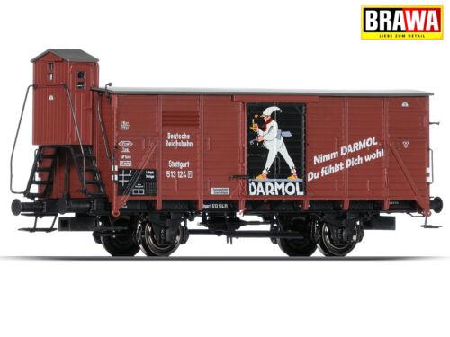 """BRAWA 49049 H0 Gedeckter Güterwagen G10 """"DARMOL"""" der DRG NEU /& OVP +"""