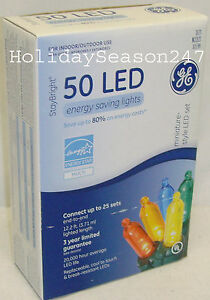 GE StayBright 50 LED Multi Color Mini Light String Set Christmas Outdoor Deco
