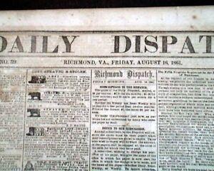 Rare-FIRST-BATTLE-OF-BULL-RUN-Manassas-VA-Civil-War-CONFEDERATE-1861-Newspaper