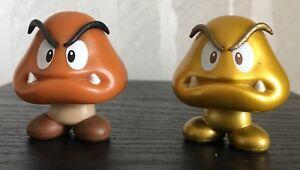 Lot-of-2-Jakks-Super-Mario-World-of-Nintendo-1-5-034-Goomba-Gold-and-Regular-Figure