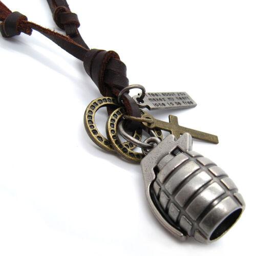 Hand Grenade Multi Pendants Genuine Leather Unisex Choker Necklace Cord