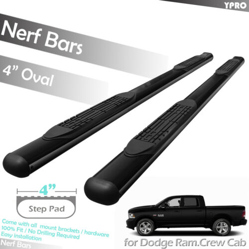 """Fit 2010-2018 Dodge Ram 1500 2500 3500 Crew Cab 4/"""" Step Nerf Bars Running Boards"""
