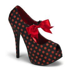 "* Bordello 5.75"" Heel Black Red Polka Dot Platform Heels Shoes 6"