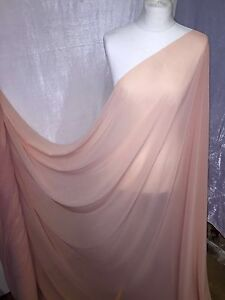 "1 MTR QUALITY PEACH GEROGETTEE CREPE BRIDAL CHIFFON FABRIC...58/"" WIDE £2.50"