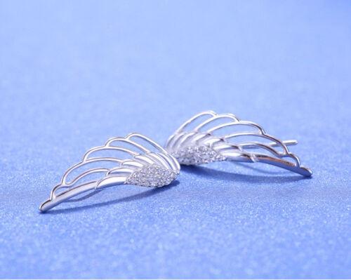 Ohrklemmen Engelsflügel echt Sterling Silber 925 Zirkonia Ohrringe Damen