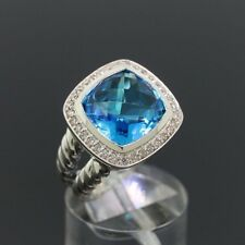 David Yurman Sterling Silver Albion Ring 11mm with Blue Topaz and Diamonds Sz 8