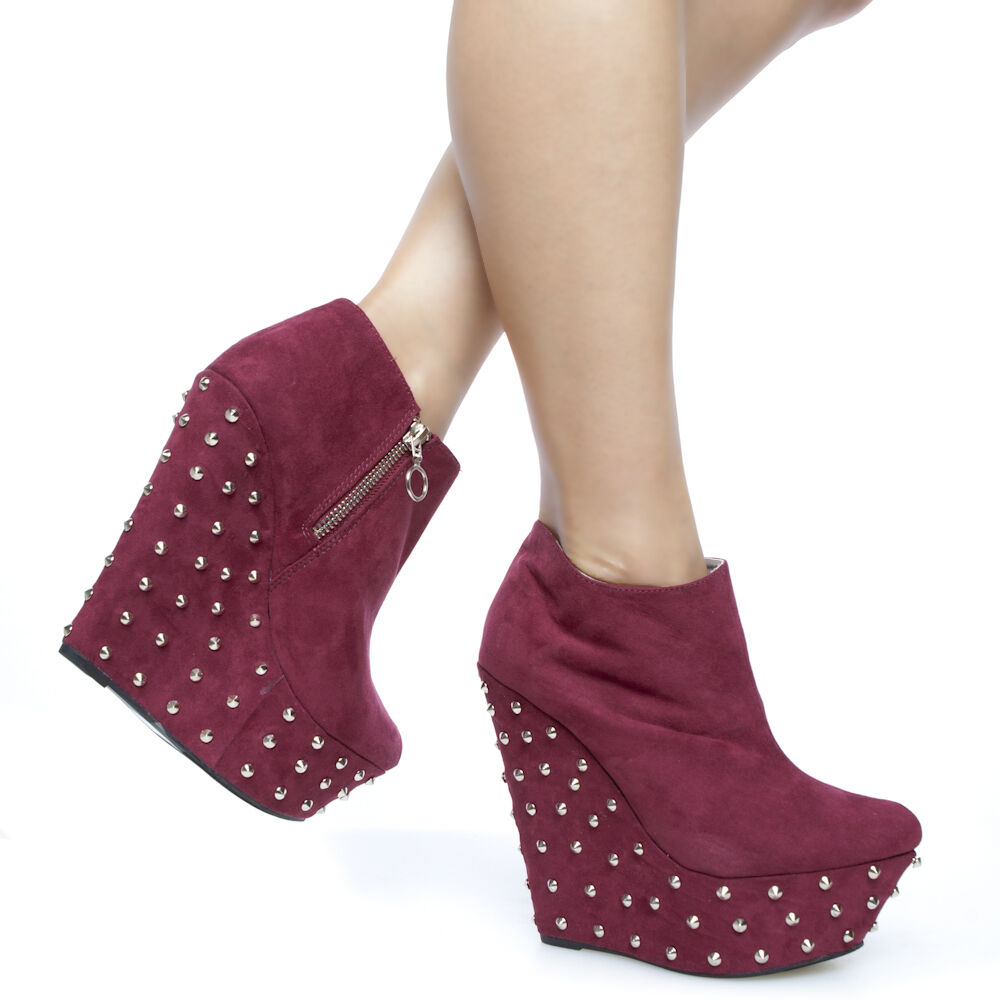 Suede Sky High Covered Wedge Spiky Heel Platform Ankle Boots Booties Red Sz 5.5