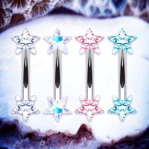 Piercing Curvado Ceja Sparkle Star Torre Barra Cartílago Pendiente pequeña barra del vientre