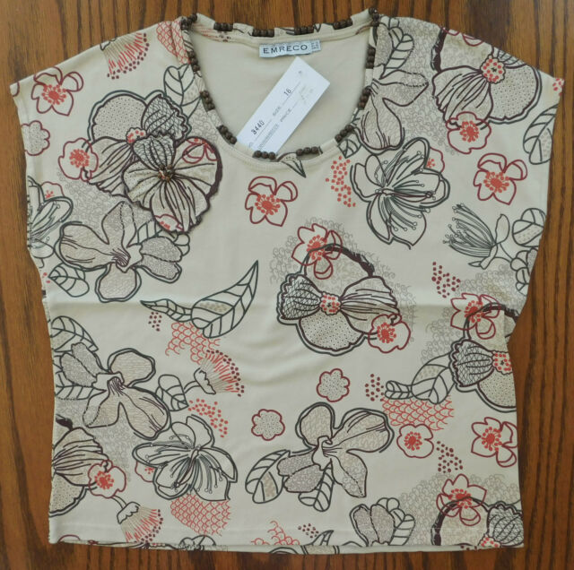 Ladies beaded top Emreco applique flower wooden beads cotton UK size 12 16 New