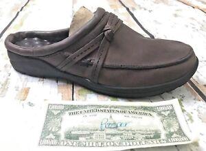 L-L-Bean-Mules-Moc-039-s-Brown-Leather-Low-Back-Slip-On-Slides-Knot-Women-039-s-9-5M-GUC