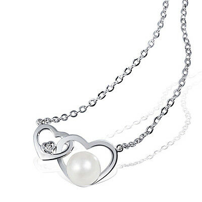 Goldmaid  375er Weißgold Kette Collier Halskette Herz Süßwasserzuchtperle Perle