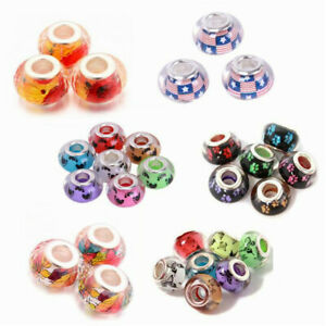5-10-20pcs-Lots-14x9mm-Resin-Big-Hole-Rondelle-Spacer-Beads-Fit-European-Charm