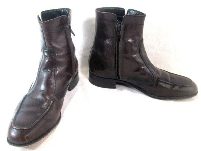Florsheim Men's Ankle Dress Boot Shoe Size 8.5 US Side Zipper Essex Black Cherry