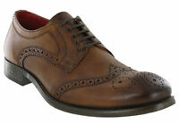 Tan Brogue Shoes Base London Leather Coniston 5 Eye Mens Formal Lined Lace Ups