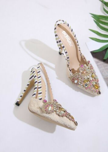 Women Pointed Toe Slip On Stilettos High Heel Shoes Slingback Lace Apricot Pumps