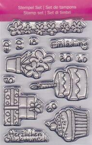 Motiv-Stempel-Clearstamps-Set-14-Stueck-Einladung-Geschenk-Cupcake-efco-45-112-30