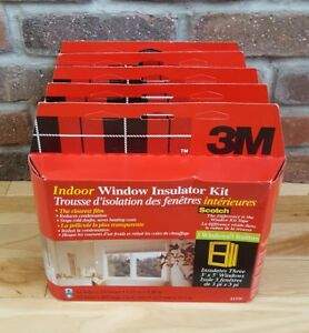3M-3-3-039-x5-039-Window-Insulator-INDOOR-Kit-Clear-Film-amp-Scotch-TAPE-Draft-5-PACKS