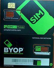 PREPAID Simple Mobile NANO Sim Card (CUT) USE GSM T-MOBILE NETWORK.