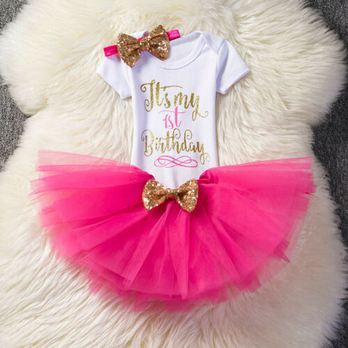 Kids Baby Girls 1st First Birthday Party Dress Romper Tutu Skirt Headband Outfit