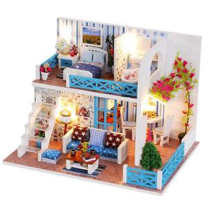 DIY-Miniature-Wooden-Dollhouse-Kids-Handcraft-Assembled-Toy-Doll-Villa-Cott-BX