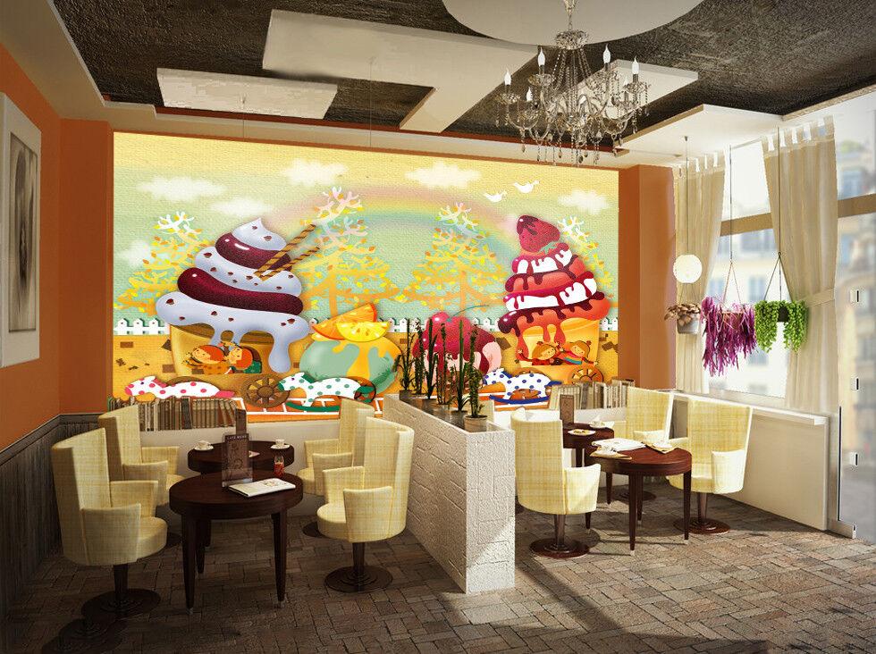 3D Ice Cream Rainbow 7 Wall Paper Murals Wall Print Wall Wallpaper Mural AU Kyra