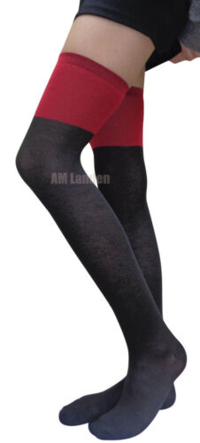 RED /& BLK WOOL Over Knee//Thigh-Highs Socks Stockings US Seller 2-Tone